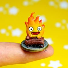 miniature calcifer, polymer clay, fimo, pasta polimerica, handmade, isabella coppola
