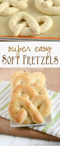 Recipe for homemade Soft Pretzels that are super easy to make! A perfect beginne… Recipe for homemade Soft Pretzels that are super easy to make! A perfect beginner bread recipe! Beginners Bread Recipe, Homemade Soft Pretzels, Healthy Pretzels, Baked Pretzels, Homemade Buns, Homemade Recipe, Homemade Vanilla, Homemade Breads, Healthy Snacks