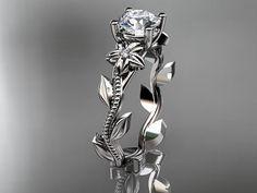 Unique platinum diamond floral wedding by anjaysdesigns on Etsy