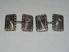 Antique Edwardian 14K White Gold & Diamond Estate Cufflinks - Circa 1905