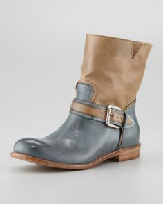 Two-Tone Buckled Ankle Boot by Alberto Fermani...love a twist of color! Gorgeous with anything charcoal!