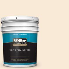 BEHR Premium Plus 5-gal. #300C-1 Princess Ivory Satin Enamel Exterior Paint