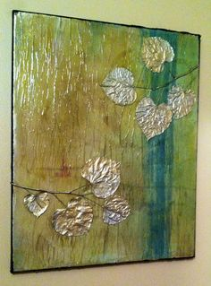 Original Mixed Media Textured Abstract Leaf Painting on Etsy, $85.00