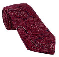 Haddon & Burley Magenta Ornate Paisley Silk Tie -Made in England