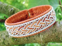 GIMLE Sami Bracelet - Handmade Personalized Lapland Bracelet in Cognac Brown Reindeer Leather with Pewter and Leather Braid from Tjekijas Design.