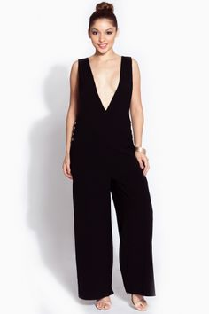 bee1b14062e7 Black Plunging Oversized Jumpsuit   Cicihot sexy dresses