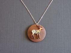 Japanese Deer pendant  brown wood a laser cut deer and by ZoeRiver, $25.00