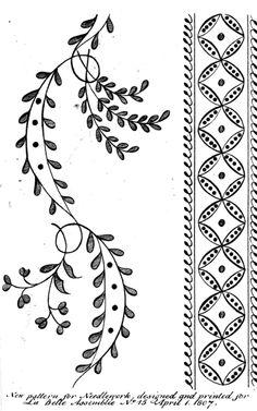 La Belle Assemblee, Muslin Pattern, 1807. What a charming little border!