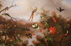 """Oil Painting Stretched on Canvas 24""""x36""""- Small Birds Flowers, Trees Lake Exotic"""