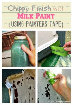 Chippy paint finish: Milk Paint & Frog Tape: The Perfect Match Milk Paint Furniture, Painted Furniture, Distressed Furniture, Furniture Makeover, Diy Furniture, Furniture Design, Shabby Chic Stil, Distressed Painting, Diy Painting
