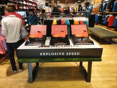 Nike Football retail table display sports shoe display.