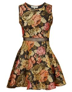 Parisian Vintage Floral Print Mesh Detail Skater Dress $ 38.60 #chiarafashion LAAAV