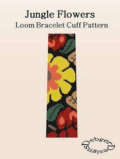 Bead Patterns Boutique - Jungle Flower Loom Bracelet Cuff