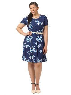 Midnight Blossom Fit & Flare Dress by Spruce & Sage, Available in sizes 0X-5X