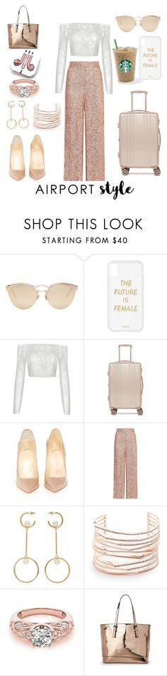 """Traveling in Style"" by olivia-ceran ❤ liked on Polyvore featuring Christian Dior, Sonix, CalPak, Christian Louboutin, Temperley London, Chloé, Alexis Bittar, Urban Expressions, PhunkeeTree and airportstyle"