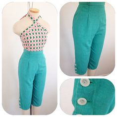 Vintage 1950s Seafoam green pedal pusher capris pants by hipsmcgee, $67.00