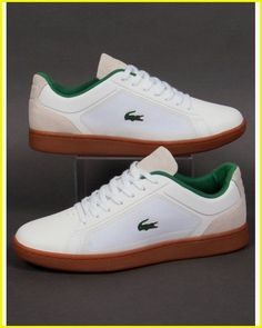 e413202af86b41 Lacoste Endliner Trainers White gum made from a mix of textile and mesh to  create a classic looking shoe. A must have with gum sole unit.