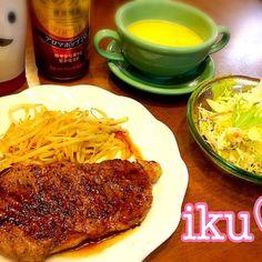 昨日、お買い物に行ったら特売のステーキ肉を発見〜 日曜日は勤労感謝の日だったし〜買っちゃった - 93件のもぐもぐ - 今夜は手抜き!ステーキ、サラダ、コーンスープ(。>∀<。) by ichinana