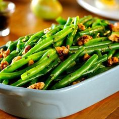 """Here's an ultra-easy and delicious way to """"plus up"""" a green beans side dish. Health Benefits Of Walnuts, California Walnuts, Spicy Recipes, Beans Recipes, Real Food Recipes, Fall Vegetables, Walnut Recipes, Veggie Tales, Vegetable Side Dishes"""