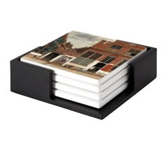 The Little Street coaster set of 4 Decorative Tile, Decorative Boxes, Johannes Vermeer, Old Wall, Ceramic Coasters, Wooden Tables, Coaster Set, Contemporary Artists, Tiles