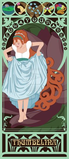 Thumbelina -   10 Beautiful Art Nouveau Posters Of '80s And '90s MovieHeroines
