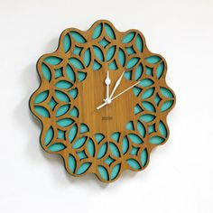 Retro Sunburst Wall Clock 60s Floral Green by HOMELOO on Etsy