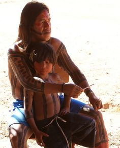 Father and Son. Kayapo Tribe, Brazil