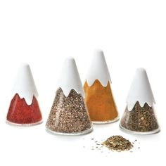€24 Mountain Spice Shakers! Set of 4 glass spice containers. Two sizes (2 big and 2 small) to fit different spices. Removable shaker top for convenient spice filling. Fits most spice racks.