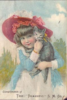 """Girl with Cat. Original Vintage Victorian Trade Card. """"The Domestic S.M.Co."""""""