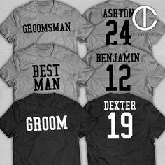 Groomsmen Shirts - Bachelor Party with Number - Sports Theme - Groomsman Custom Customizable