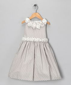Take a look at this Gray Polka Dot Rosette Dress - Toddler & Girls by Donita on #zulily today!