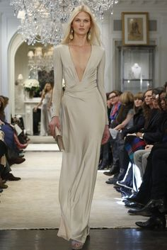 evening gown with sleeves This Ralph Lauren dress would make a beautiful wedding gown...
