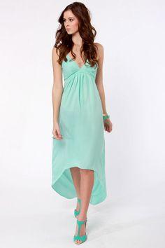 Beautiful Backless Dress - Mint Dress - Aqua Dress - $48.00