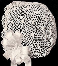 Vintage Antique Baby Cap Hat Bonnet Fan Crochet Pattern ColumbiaFan