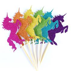 Bright Rainbow Unicorn Cupcake Toppers - Set of 12 Rainbow Glitter Toppers - Unicorn Birthday Party Decor, Baby Shower Decor, Unicorn Party