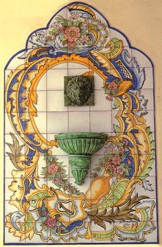 The azulejo of Portugal are ubiquitous and usually presented on a monumental scale, with a grandeur and elegance, rarely seen with public tile art. Portuguese Culture, Portuguese Tiles, Mosaic Glass, Mosaic Tiles, Italian Tiles, Antique Tiles, Italian Pottery, Tile Art, Hand Painted