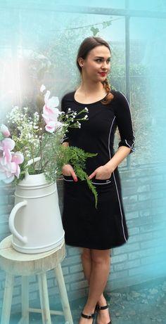 Dress Patsy Stripe Black -Tante Betsy.com
