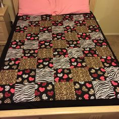 Hearts and Animal Print Quilted Throw by LoveErinMarie on Etsy