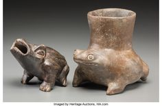 Pre-Columbian:Ceramics, Two West Mexico Frog Vessels... (Total: 2 Items)