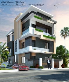 The modern home exterior design is the most popular among new house owners and those who intend to become the owner of a modern house. Architect Design House, Architecture Design, Bungalow House Design, House Front Design, Modern Architecture House, Facade Design, Modern House Design, Exterior Design, Modern Bungalow Exterior