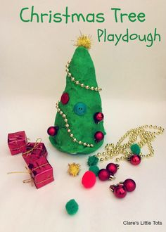 Christmas Tree Playdough. Decorate a Christmas tree over and over again. Fun Christmas sensory play for toddlers and preschoolers.