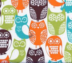 Swedish Owls, Brown by Michael Miller