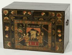 yes we have a trunk just like this same painting pattern in our family room as a coffee table antique asian furniture trunk with painted opera scene asian inspired coffee table