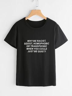 Shop Sentence Print T-shirt online. SheIn offers Sentence Print T-shirt & more to fit your fashionable needs.