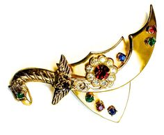Extraordinary Rhinestone Dragon Sword Shield Jewelry Brooch Pin Game Of Thrones Celtic Jeweled Shield Celtic RARE & AMAZING $38.00