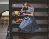 Blue Denim Dress, Made of Cotton, Hand made dress, Maxi, Women
