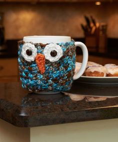 Woodland Owl Cup Cozy Free Crochet Pattern from Red Heart Yarns