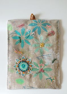 Handpainted and embroidered textile art