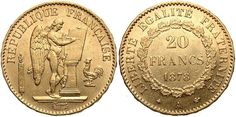 Coin 20 Franc French Third Republic (1870-1940) Gold 1878 with ...