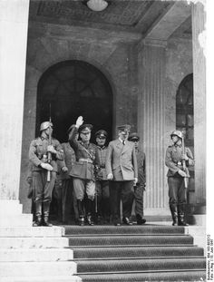 Romanian dictator Ion Antonescu meeting with Adolf Hitler in June Romania was a main source of oil for the Axis powers in World War II and also a military ally for Nazi Germany. History Online, Women In History, World History, World War Ii, British History, Ancient History, American History, Germany Ww2, Munich Germany